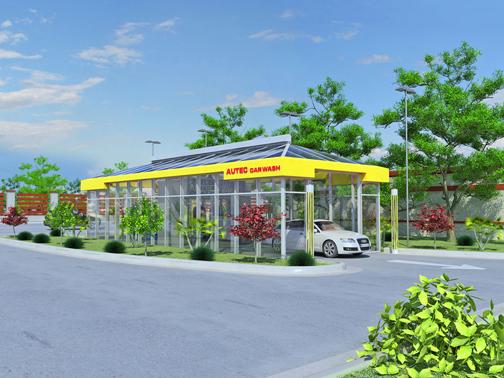 Texas car wash building yellow
